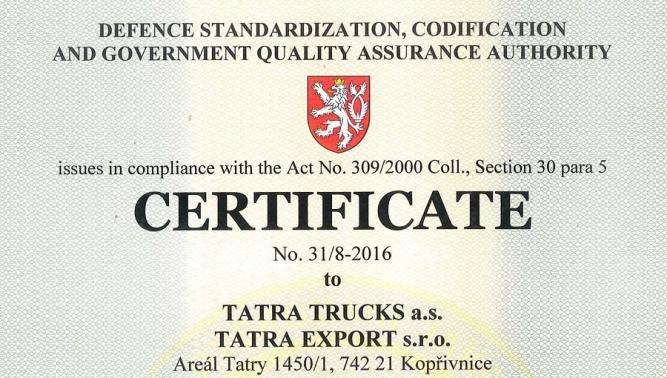 TATRA EXPORT, OOO защитил сертификат AQAP